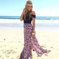 Boho Off Shoulder Summer Beach Crop Top
