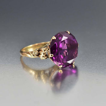 Vintage 14K Gold Color Change Alexandrite Ring