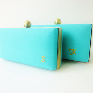 tiffany blue bridesmaid clutch set,tiffany blue weddings, Bridesmaid Set of 3 personalized clutches, tiffany blue minaudieres, spring trends