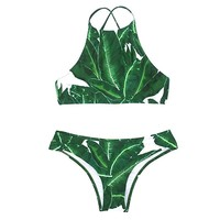 Cupshe Fashion Women's Forest Leaves Printing Tank Padding Bikini Set