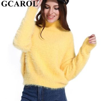 GCAROL 2018 New Autumn Winter Women Turtleneck Mohair Sweater 20% Wool Soft Hand Oversize Knit