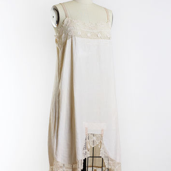 1920s Linen and Lace Slip Dress