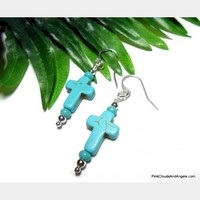 Dangle Cross Earrings Turquoise Howlite and Silver Handmade Fashion Jewelry Pierced or Clip On