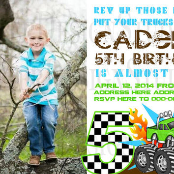 Monster Truck Birthday Invitation - Printable/Digital File