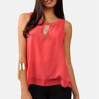 Heart Key Top - Coral