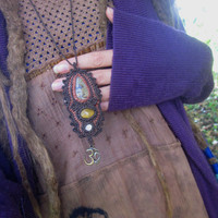 tribal necklace, tiger eye, shivas eye