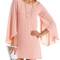 Tulip Bell Sleeve Shift Dress by Charlotte Russe