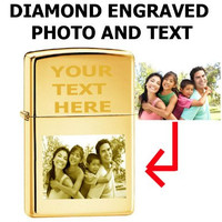 Zippo Custom Lighter - Customize Personalized Engraved Photo Brass Gold High Polish 254b