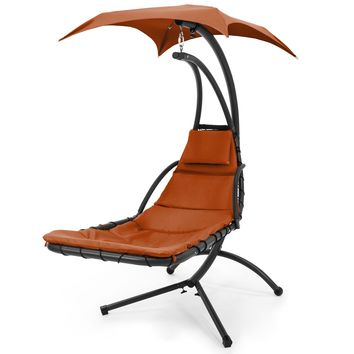 Hanging Chaise Lounger Chair Arc Stand Air Porch Swing Hammock Canopy (Orange)