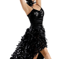 Sequin Leaf Mesh High-Low Dress -Weissman Costumes