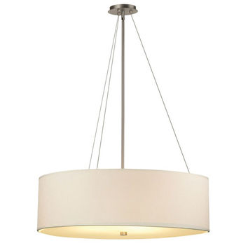Philips BKIT-F43036-F670 Taylor Three-Light Satin Nickel Drum Pendant w/ 32 Inch White Grasscloth Shade