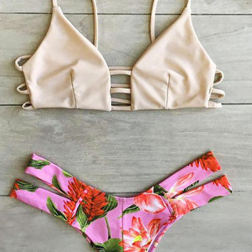 Caged Strappy Top X Floral Cheeky Bottom Bikini Set