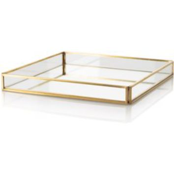 Large Gold & Glass Mirrored Tray - Bedroom - Oliver Bonas