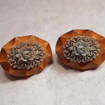 Brown and Blue Vintage Flower Clip on Earrings Wood with Carved Celluloid Oval Cabs Floral Jewelry Mid Century