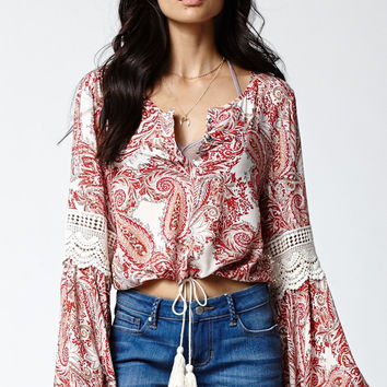 Kendall and Kylie Crochet Inset Long Sleeve Peasant Top at PacSun.com