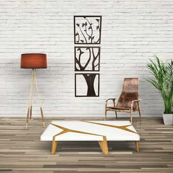 3 Panel Wood Cut Tree Wall Hanging