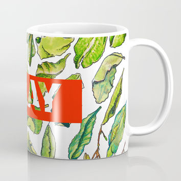 slay tea slay! // watercolor tea leaf pattern with millennial slang Coffee Mug by Camila Quintana S