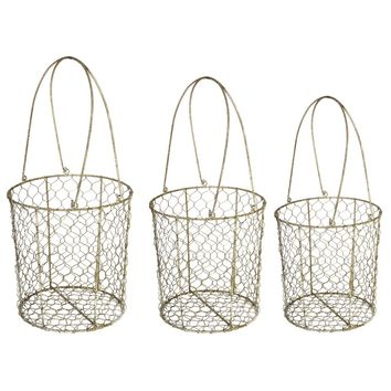 Metal Wire Mesh Storage Basket, Set of 3, Brown
