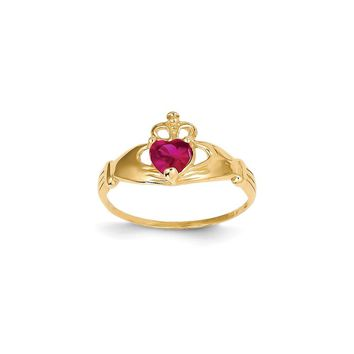 14k Yellow Gold CZ July Birthstone Claddagh Heart Ring