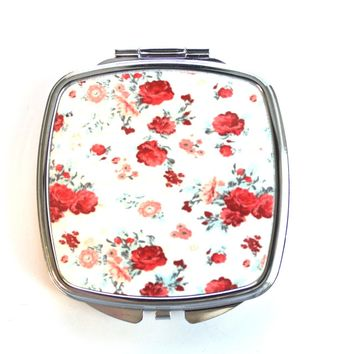 Pink Roses Floral Compact Mirror
