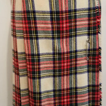 Vintage Pure New Wool Red Scottish Plaid Skirt Size 10 Made in England 100% Wool