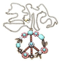 LuckyStore Vintage Bronze Pearl Beads Rhinestone Peace Sign Symbol Pendant Chain Necklace | AihaZone Store
