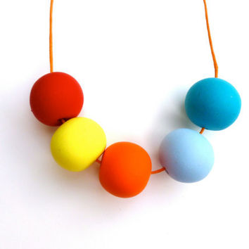 Red, Neon yellow, blue, orange  necklace with hand made from clay round beads light and modern gift under 20 orange, red, blue and yellow