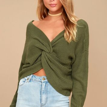 Heart Throb Olive Green Cropped Knit Sweater
