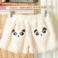 Beige Cute Panda Thickened Base Shorts