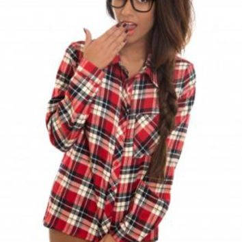 Red Flannel Long Sleeve Shirt with Button Up Front