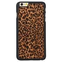 Leopard Animal Print Wood iPhone 6 Plus Case Carved® Cherry iPhone 6 Plus Slim Case