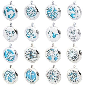 LMFCI7 New Arrivev more than 25 styles Aromatherapy Essential Oil Surgical Stainless Steel Necklace Pendant Perfume Diffuser Locket