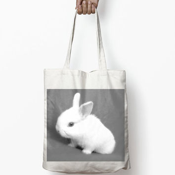 BABY RABBIT PHOTO Tote Bag cute funny print wholesale bulk
