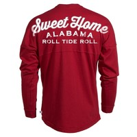 Official NCAA University of Alabama Crimson Tide UA ROLL TIDE! Women's Long Sleeve Spirit Jersey T-Shirt