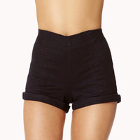 High-Waisted Cuffed Shorts