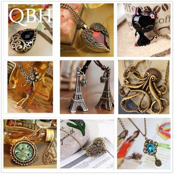New Vintage Long Chain Bow Cat Owl Collares Heart Wing Feather Leaf LOVE Crystal Clavicle Pendant Necklace Jewelry For Women