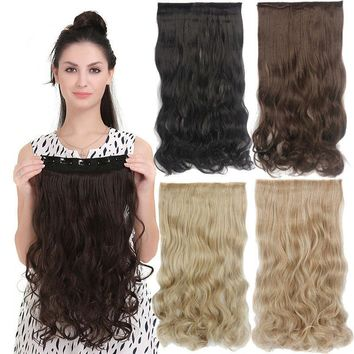 Wavy Curly 3/4 Full Head Clip in Hair Extension Synthetic One Hair Piece 5 Clips