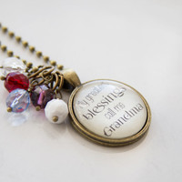 Grandma's Pride Necklace - Blessed Necklace - Birthstone Jewelry - Greatest Blessings Inspirational Pendant - Text Jewelry - Custom Jewelry