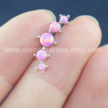 Dainty Pink Opal Earring ,Pink Pronged 5 Stone Fire Opals Cartilage Earring Piercing Body Jewelry Screw Fire Opal Stud Cartilage Earring