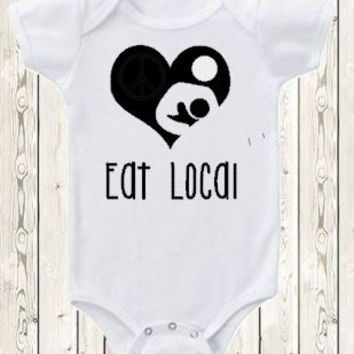 Eat Local Breastfeeding Onesuit ® brand bodysuit or shirt Breastfeeding logo heart nursing shirt new baby gift baby shower natural