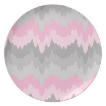Pink Grey Gray Ombre Chevron Camo Kitchen Dinner Dinner Plates