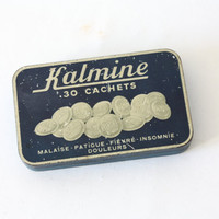 Old little box of painkiller Kalmine, Blue metal box, collection box, pharmacy
