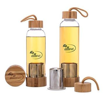 Allure Borosilicate Glass Bottle Tea Infuser 16 Oz  12 Oz With Sleeve | Leakproof Bamboo Lids Tether Top amp Stainless Steel Strainer | For Green Tea Iced Coffee Fruit amp Herbal Drinks Water amp More