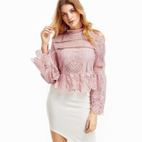 Pink Lace Flare Sleeve Peplum Blouse