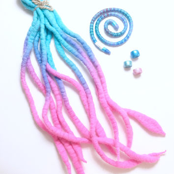 Dreadlock Accessory Set - sweet pink and blue