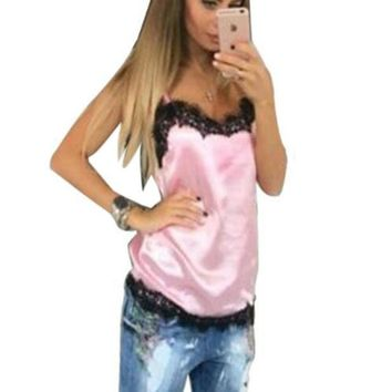 CREYYN6 Newly 2017 Fashion Sexy Women Solid Camis Summer Casual Lace Patchwork Vest Top Sleeveless Tank Tops T-Shirt 4 Colors Tops GV554