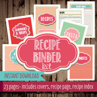 Recipe Binder Printables-Recipe Organizer, Printable Recipe Binder, Cookbook-23 Pages-Instant Download