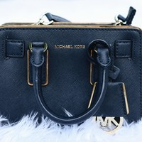 Black and Gold Small Michael Kors Purse