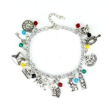 Alice In Wonderland Mad Hatter Charm Bracelet & Necklace Drink Me Alice Hat Brand Jewelry Gift For Fans Women Movie Jewelry