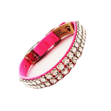 Giltmore 2 Row XL Crystal Collar — Perfect Pink
